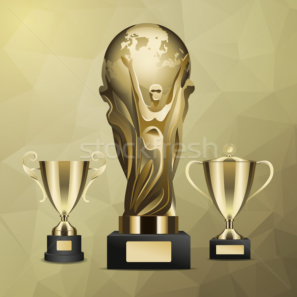 Gold Trophy with Man Holding Earth in Hands Vector Stock photo © robuart