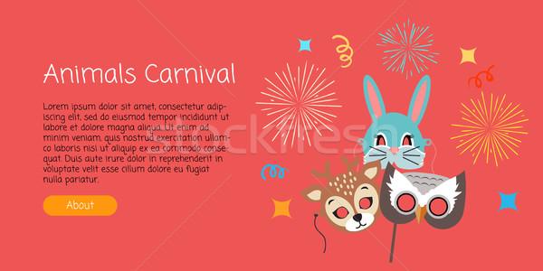 Maskers dier carnaval herten konijn uil Stockfoto © robuart