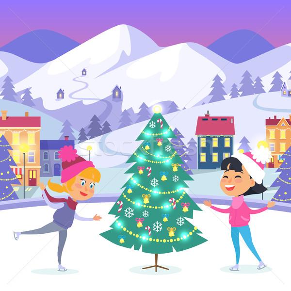 Gelukkig kinderen kerstboom weinig glimlachend meisjes Stockfoto © robuart