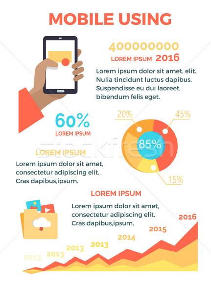 Stockfoto: Mobiele · hand · telefoon · poster · smartphone