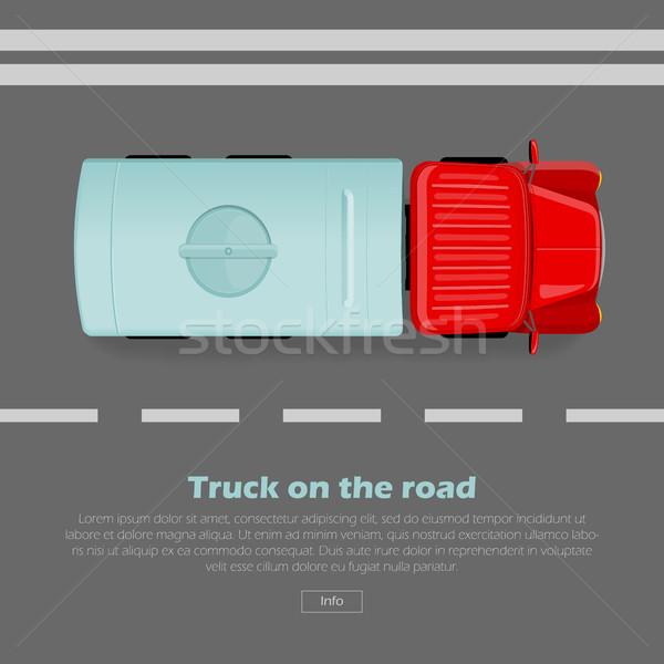 Camion route vecteur web bannière autoroute Photo stock © robuart
