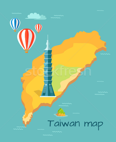 Cartoon Taiwan Map with Taipei Tower Illustration Stock photo © robuart