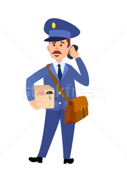 Postman Delivering Parcel Isolated Cartoon Vector  Stock photo © robuart