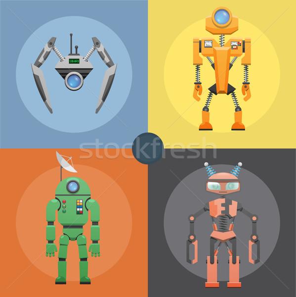 Stockfoto: Ingesteld · metalen · robots · vier · iconen