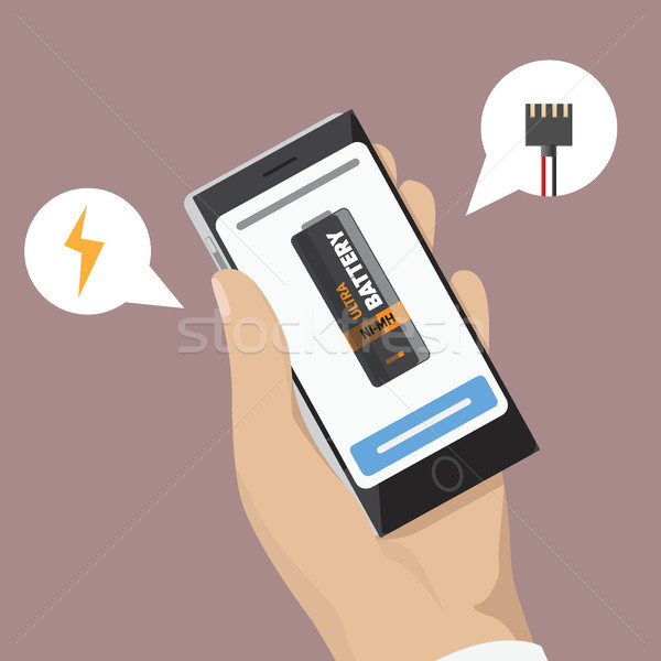 Stock photo: Mobile Phone with Battery on Screen in Hand