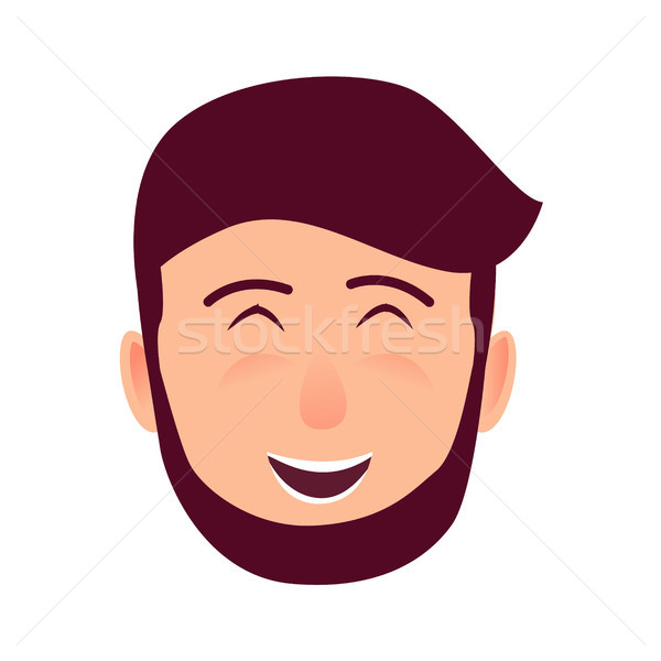 Laughing Young Man Face Flat Vector Icon Stock photo © robuart