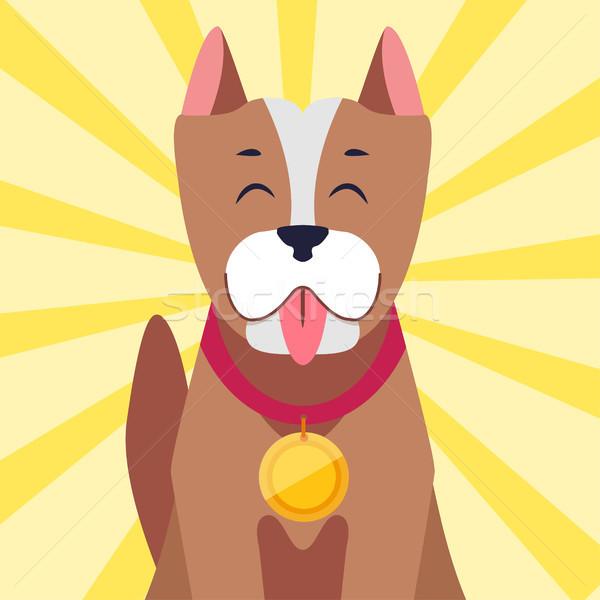 Felice cane medaglia cartoon vettore cute Foto d'archivio © robuart