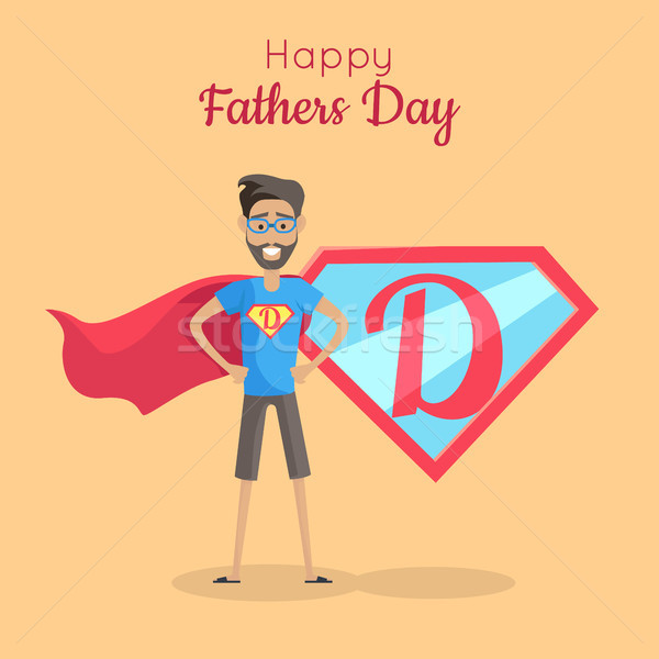 Happy Fathers Day Poster. Daddy Super Hero Stock photo © robuart
