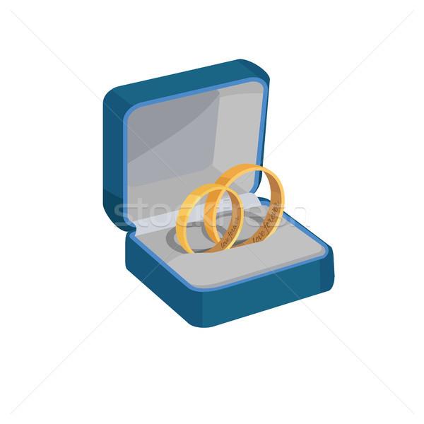Ouro anéis de casamento amor para sempre par abrir Foto stock © robuart