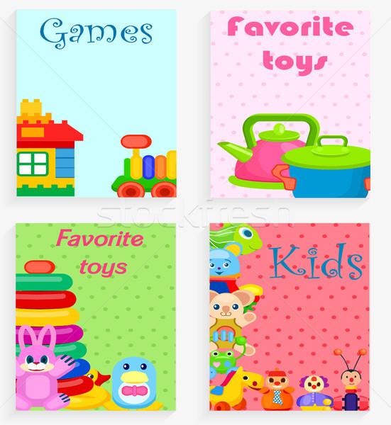 çocuklar favori oyuncaklar oyunları renkli poster Stok fotoğraf © robuart