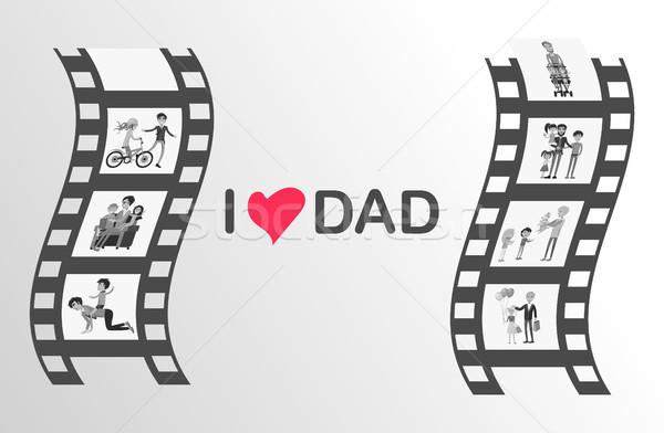 Feliz pai dia momentos preto rolo de filme Foto stock © robuart