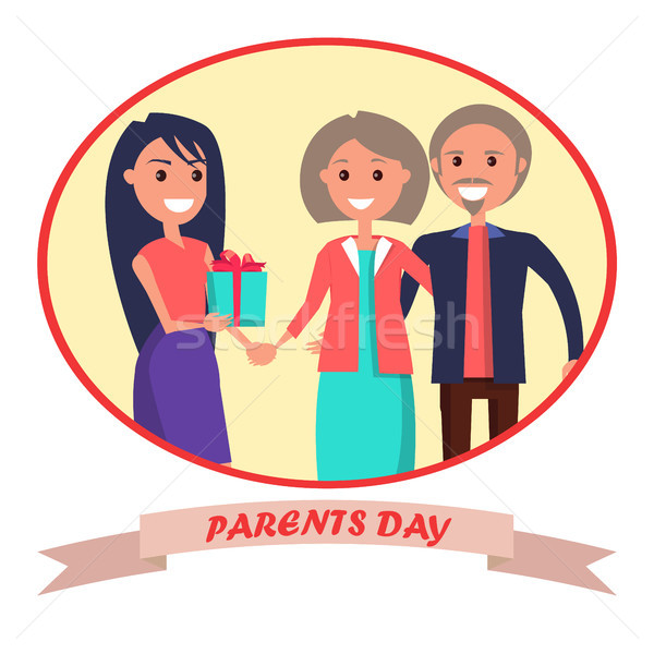 Parents Day Banner Showing Happy Family Stock photo © robuart