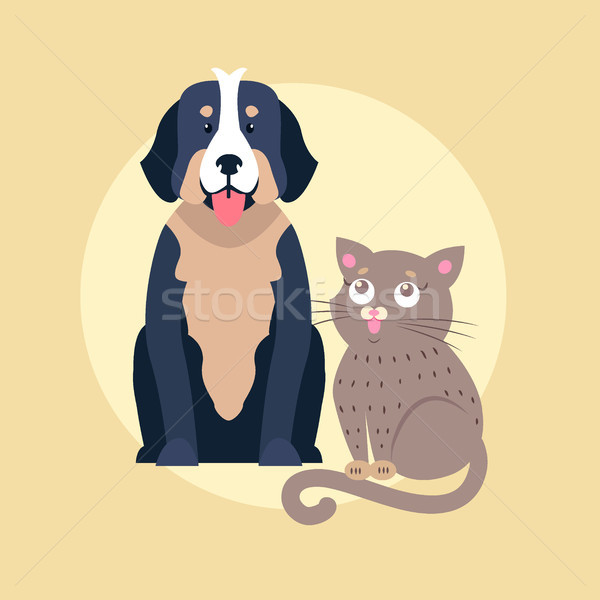 Cute hond kat cartoon vector icon Stockfoto © robuart