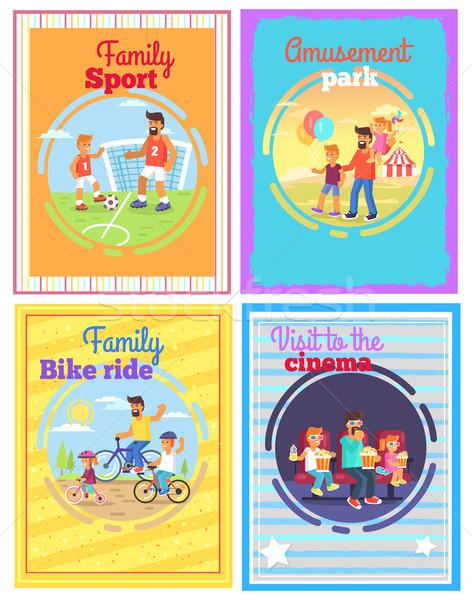Pai divertido crianças conjunto quatro cartões Foto stock © robuart