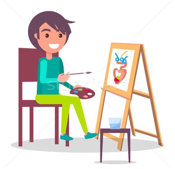 Creatività poster ragazza disegno vaso vettore Foto d'archivio © robuart