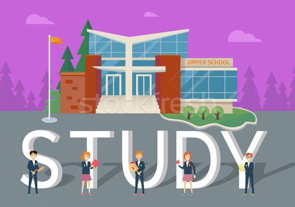 Study in Upper School Flat Style Vector Concept Stock photo © robuart