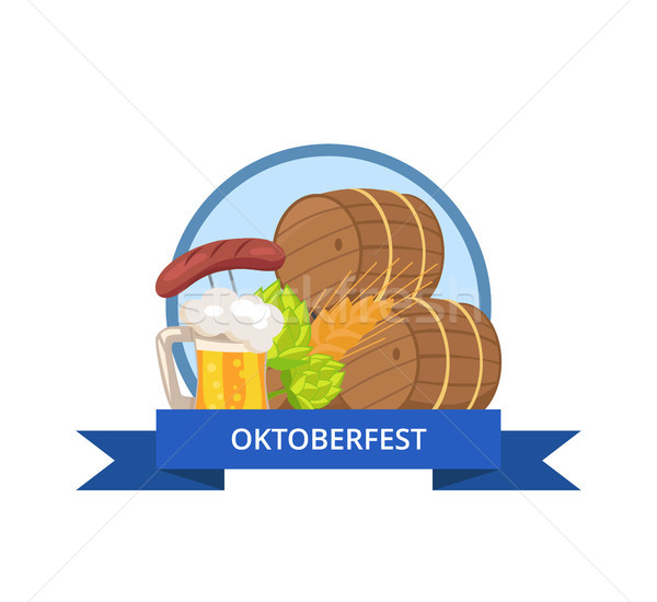 Stock photo: Oktoberfest Logo Design with Wooden casks Beer Mug