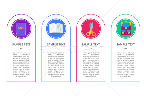 Set Banners with Round Buttons Containing Objects Stock photo © robuart