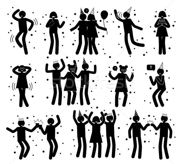 Kutlama toplama siyah siluetleri beyaz yalıtılmış Stok fotoğraf © robuart