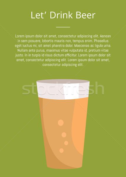 Beber cerveja cartaz texto quartilho escuro Foto stock © robuart