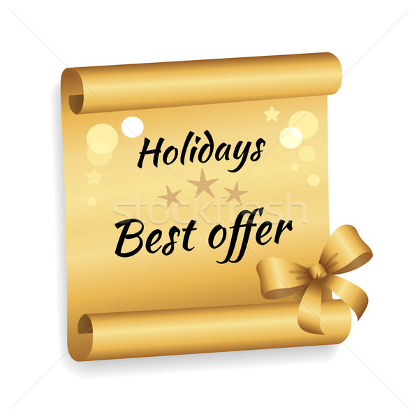 Holidays Best Offer Label on Golden Paper List Bow Stock photo © robuart