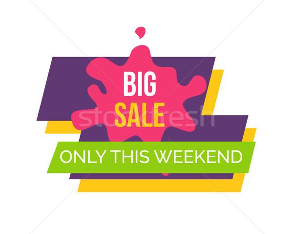 Grande venta fin de semana etiqueta púrpura rosa Foto stock © robuart
