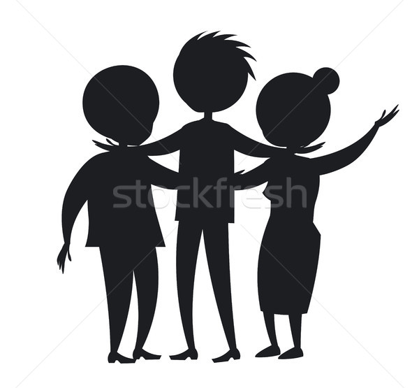 Happy Mature Family Wife and Husband, Son Black Stock photo © robuart