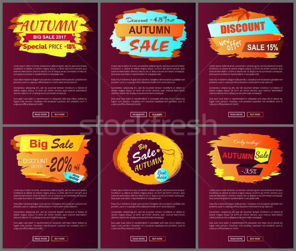 Autumn Sale Posters Set Promo Advertising Labels Stock photo © robuart