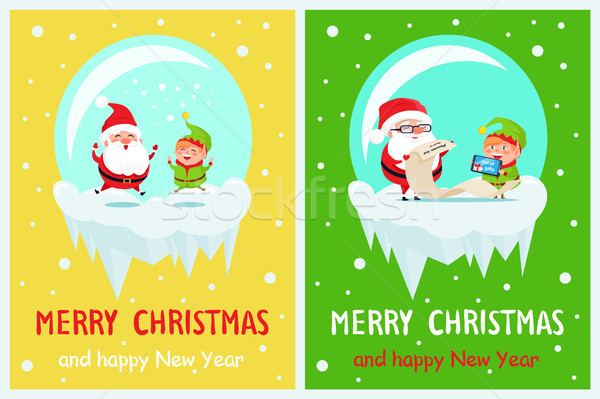 Merry Christmas and Happy New Year Set of Cards Stock photo © robuart