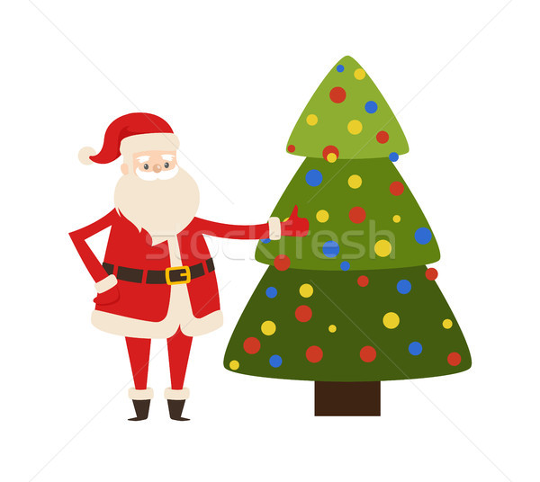 New Year Tree and Santa Claus Icon Vector Poster Stock photo © robuart