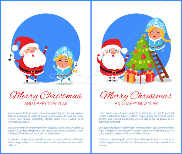 Merry Christmas Singing Carols Vector Illustration Stock photo © robuart