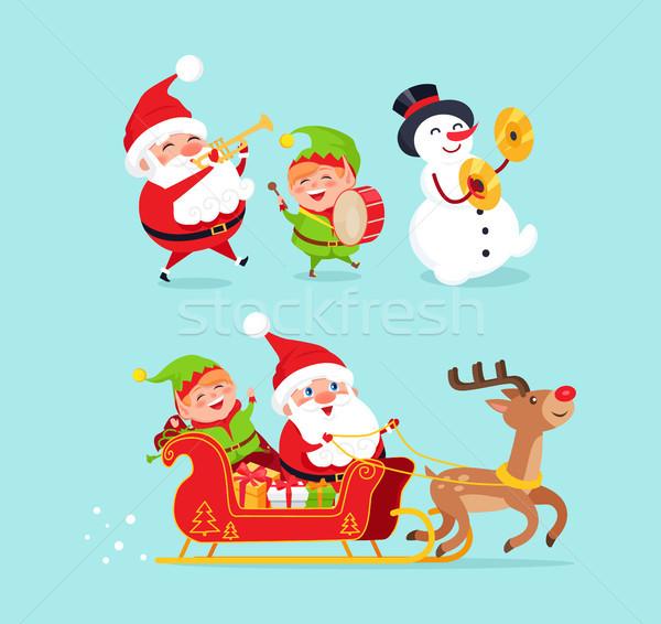 Santa Claus Snowman with Elf Vector Illustration Stock photo © robuart