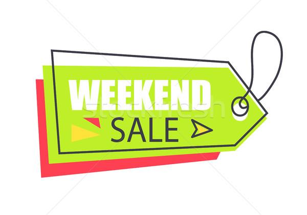 Weekend sprzedaży arrow wiszący naklejki Zdjęcia stock © robuart