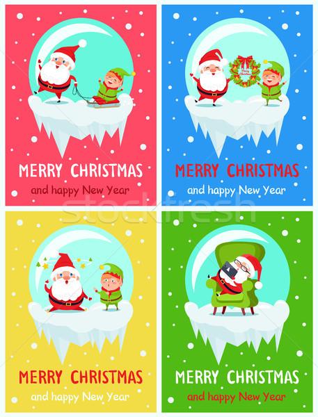 Vidám karácsony boldog új évet mikulás manó bannerek Stock fotó © robuart