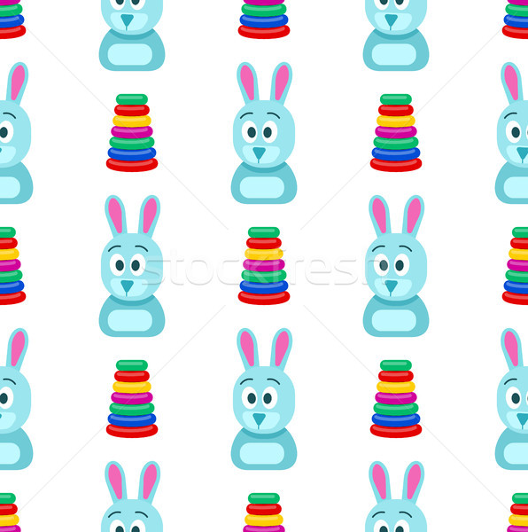 Hare with Funny Face and Pyramid Seamless Pattern Stock photo © robuart