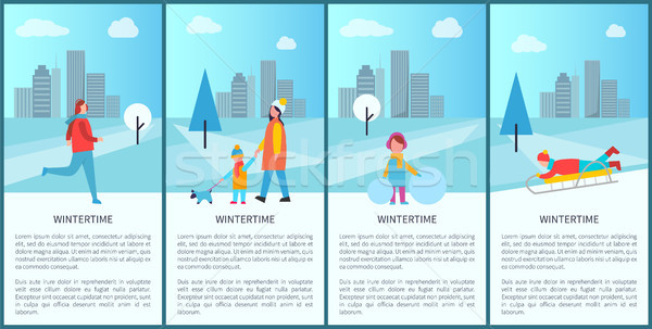 Wintertime Fun Set of Posters Vector Illustration Stock photo © robuart