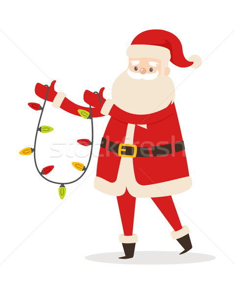 Santa Claus with Garland Isolated. New Year Decor Stock photo © robuart