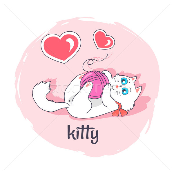 Cute Kitty in Pink Circle Vector Illustration Stock photo © robuart
