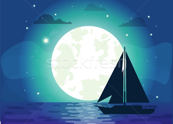 Silhouette of Ship with Moon Vector Illustration Stock photo © robuart