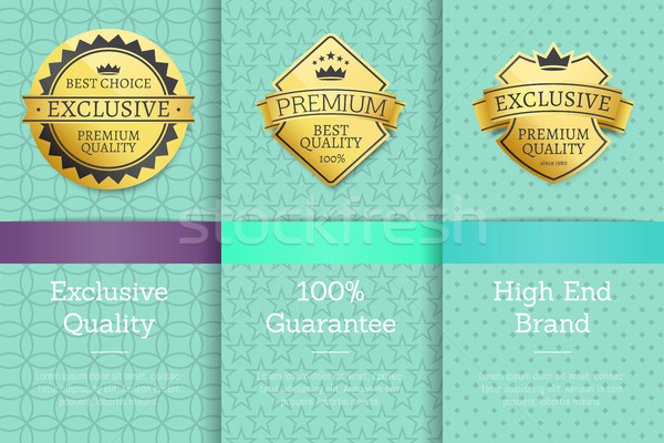 Stock photo: High End Brand Guarantee Exclusive Premium Labels