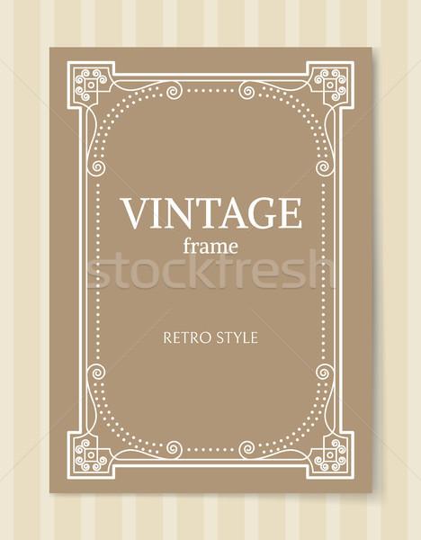 Vintage ramki w stylu retro granicy odizolowany beżowy Zdjęcia stock © robuart