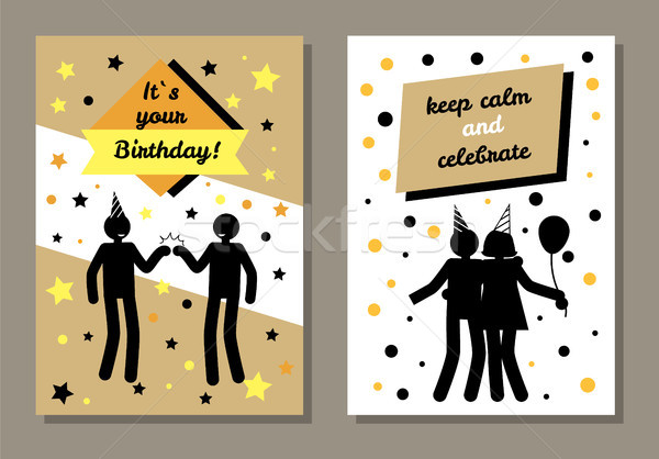 Its Your Birthday Cards Set Vector Illustration Stock photo © robuart