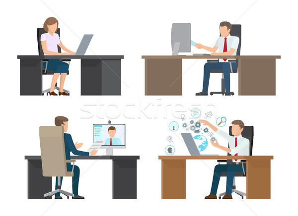 Video Conference of People Vector Illustration Stock photo © robuart