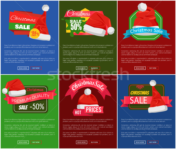 Six Christmas Sale 50 Percent Off Promo Posters Stock photo © robuart