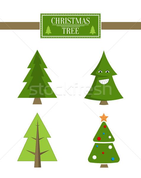 Xmas Tree Advert Sale Board, Set of Spruce Icons Stock photo © robuart