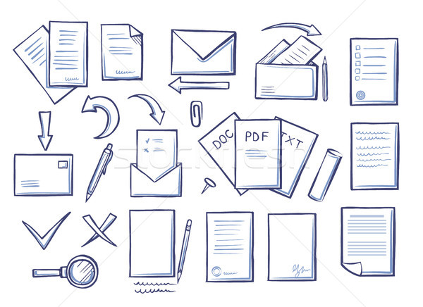 Office Papers Set Colorless Vector Illustration Stock photo © robuart