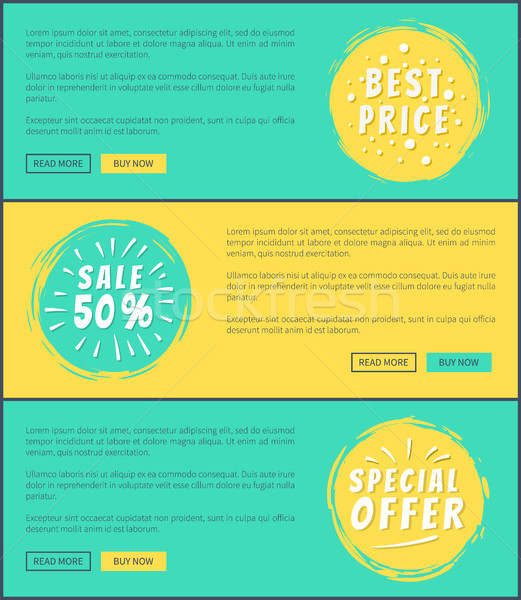 Half Price Special Offer Cards Vector Illustration Stock photo © robuart