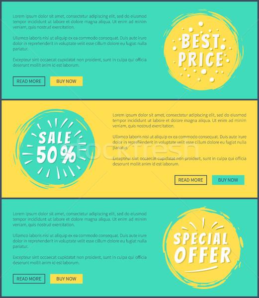 Fél ár akció kártyák hirdetés szöveg Stock fotó © robuart