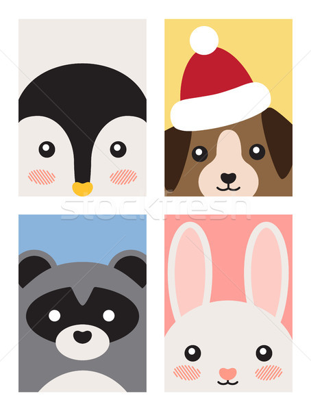 Animals Poster Collection on Vector Illustration Stock photo © robuart