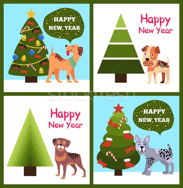 Foto stock: Feliz · año · nuevo · carteles · establecer · Navidad · árboles · cachorros